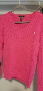 Pink Ralph Lauren Cable Knit Vneck Sweater